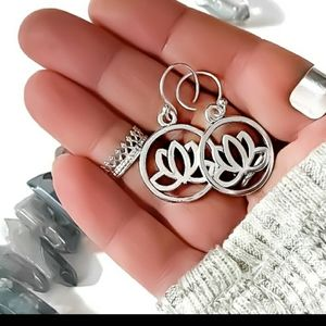 New handmade 925 silver Lotus flower earrings